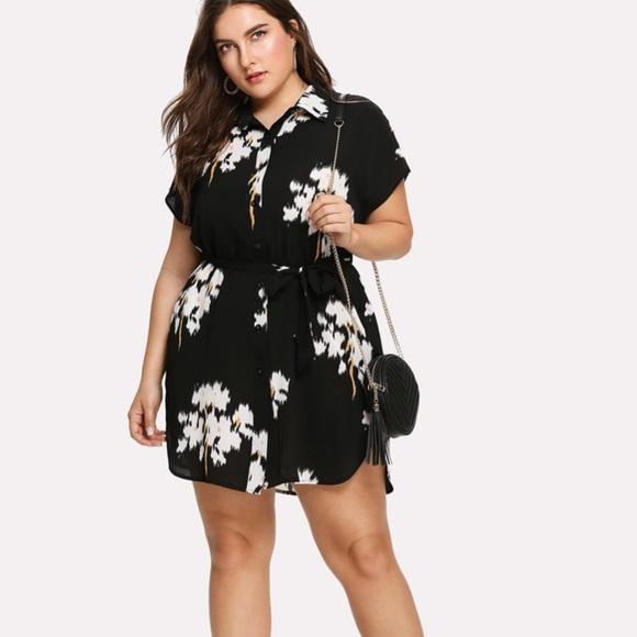 2e30b4fefe SHEIN Dresses | Patterned Shirt Dress Plus Size | Poshmark